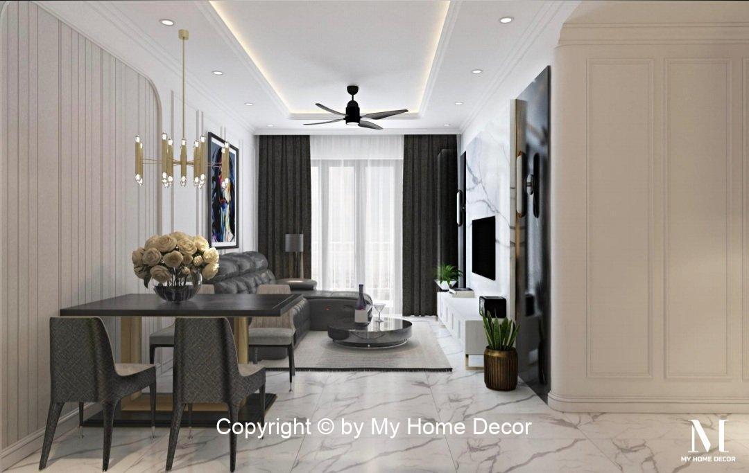 Thiết kế nội thất phòng khách căn hộ Sunrise Riverside