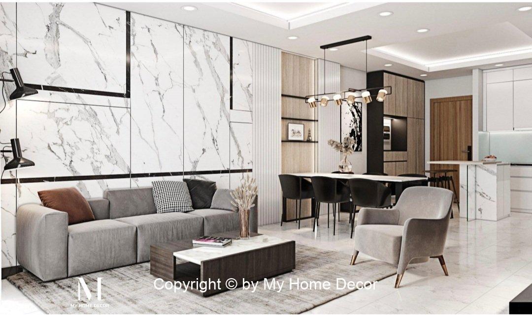 Hình ảnh phối cảnh khu sofa ốp đá Marble kết hợp lam gỗ