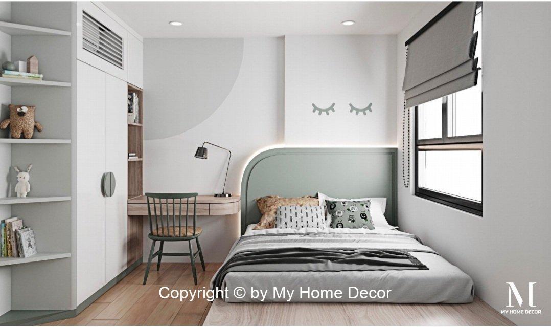 Thiết kế phòng ngủ con gái tủ quần áo kết hợp bàn làm việc