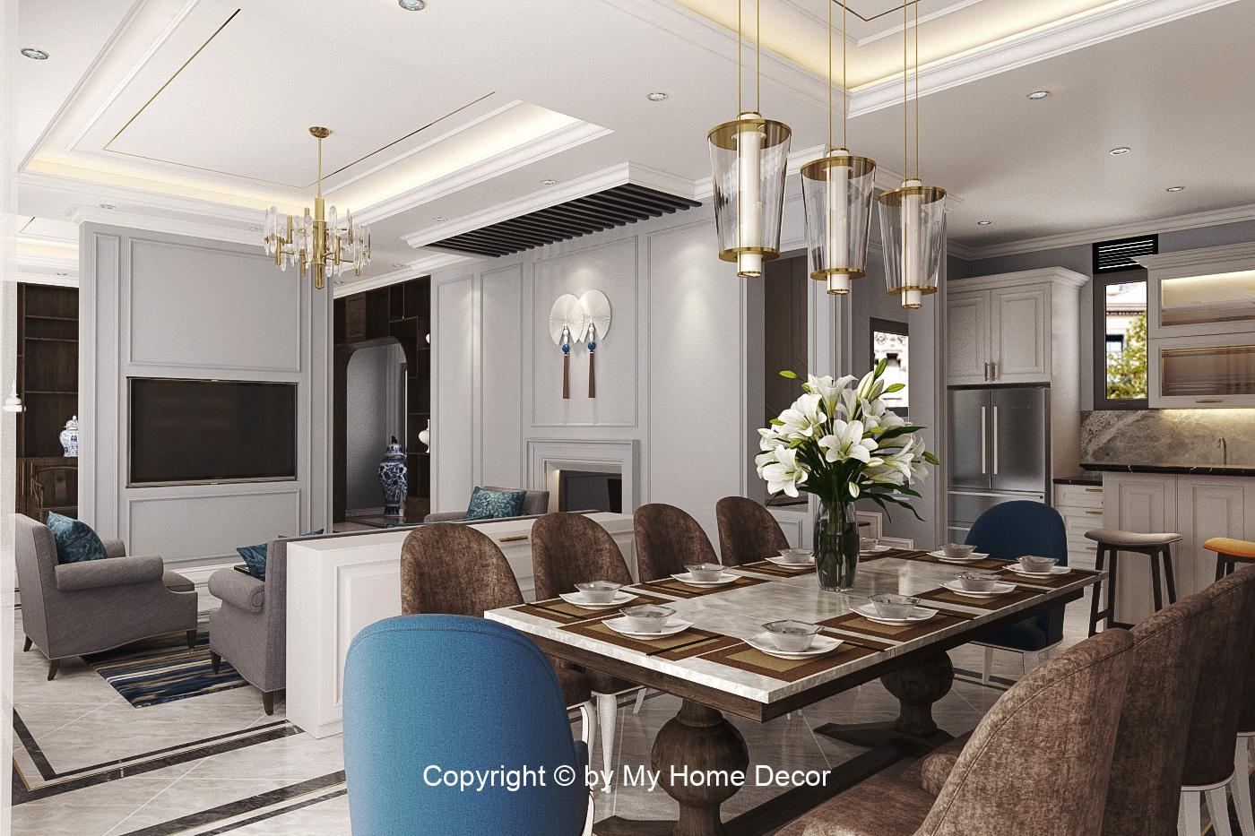 Bố tri phòng khách và phòng ăn tận dụng tối đa không gian mở