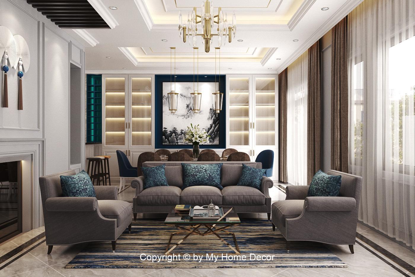 Thiết kế nội thất không gian phòng khách Waterpoint.