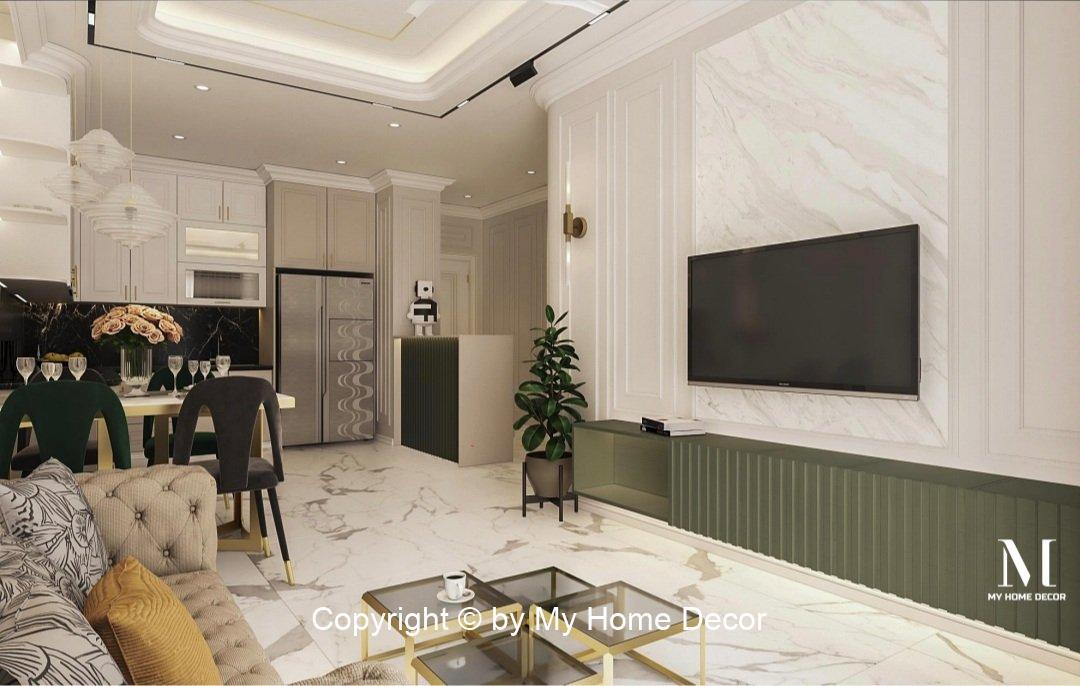 Vách tivi thiết kế ốp đá Marble tạo điểm nhấn căn hộ Vinhomes Grand Park