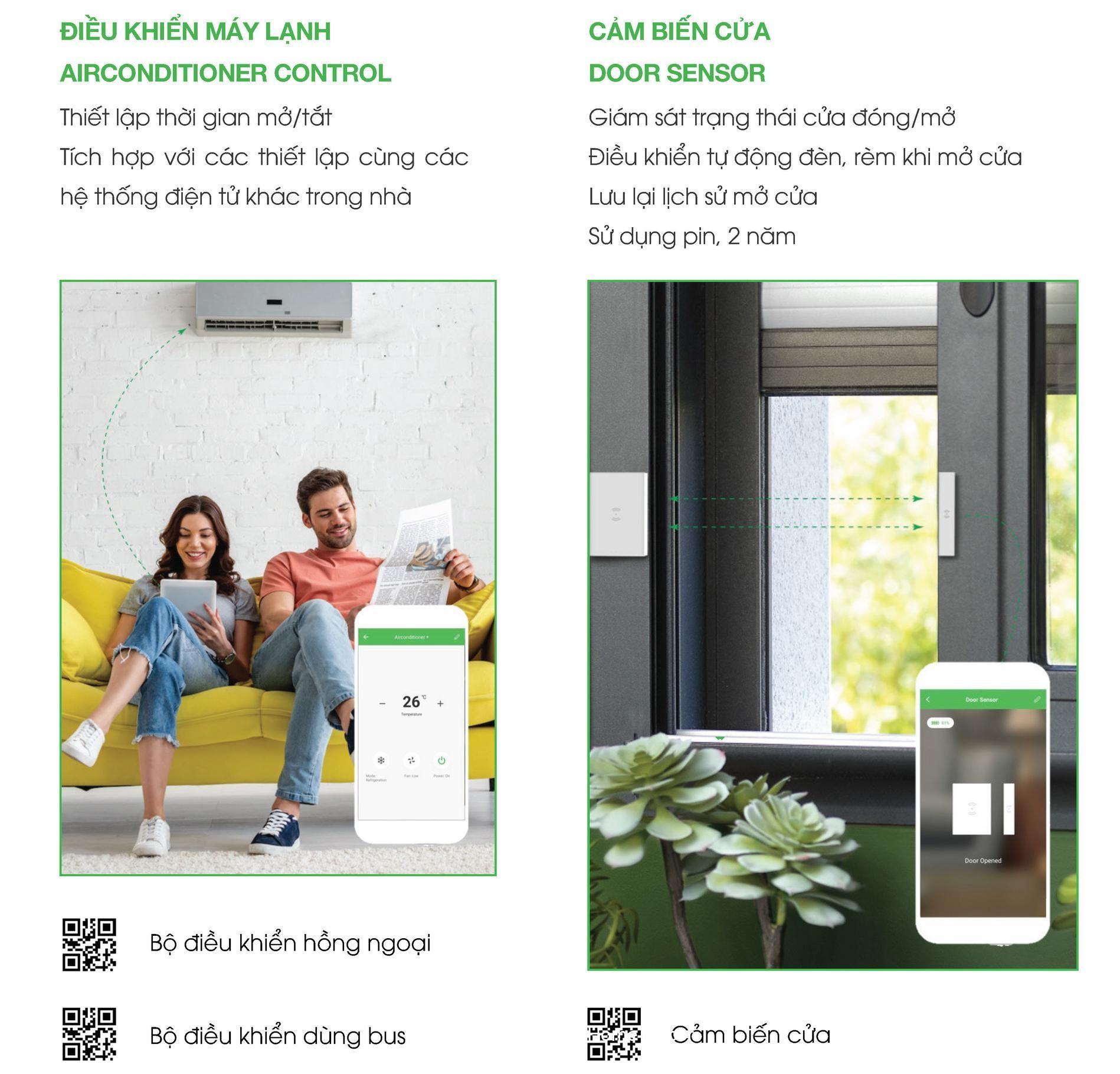 Smart home điều khiển máy lạnh và cảm biến cửa thông minh